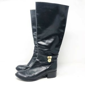 Michael Kors Black Leather Hamilton MK Charm Boots